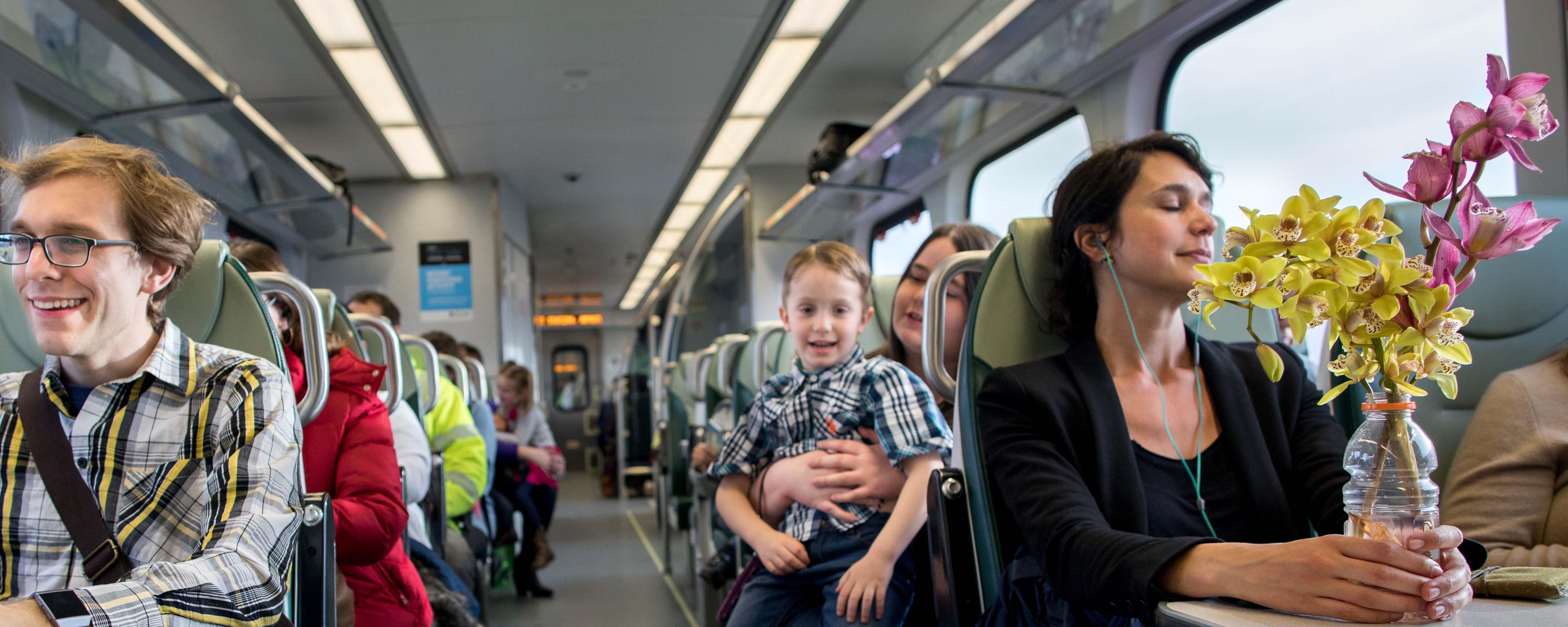 Riders onboard SMART train