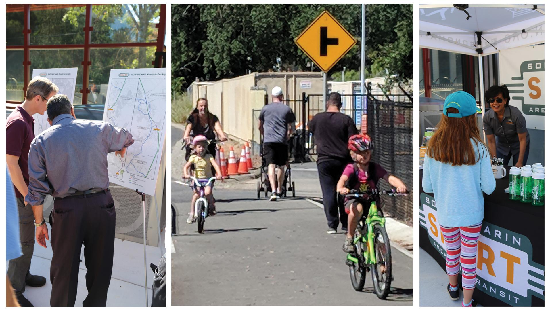 Collage of pathway ribbon cutting photos